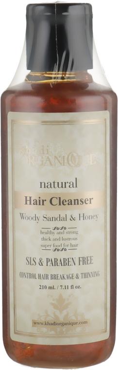 "Натуральный травяной бессульфатный аюрведический шампунь ""Сандал и Мед"" - Khadi Organique Woody Sandal&Honey Hair Cleanser"