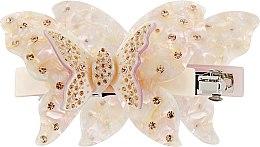 """Духи, Парфюмерия, косметика Заколка-автомат для волос """"Бабочка"""", 0794, молочная - """"Элита"""""""