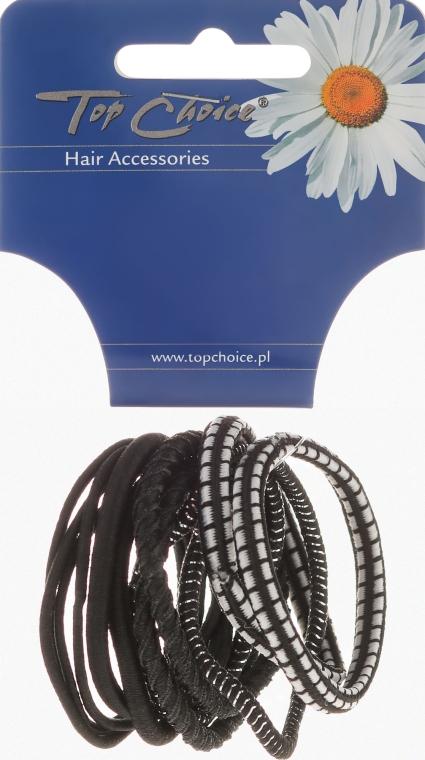 Резинки для волос 12шт, черный+серебристый, 22340 - Top Choice — фото N1