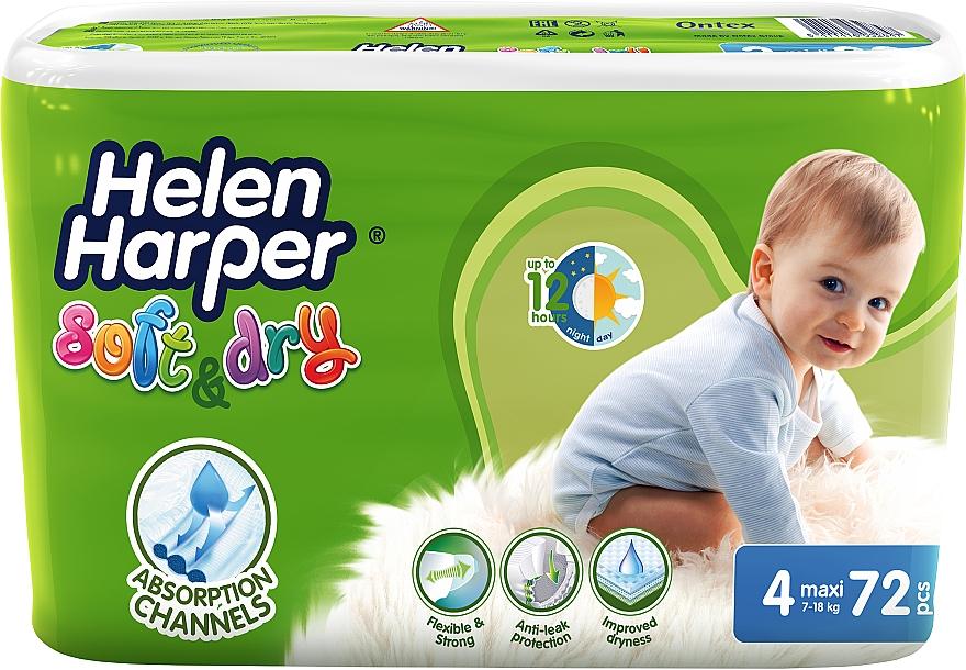 Подгузники для детей Soft & Dry Maxi 4 (7-18 кг), 72 шт - Helen Harper