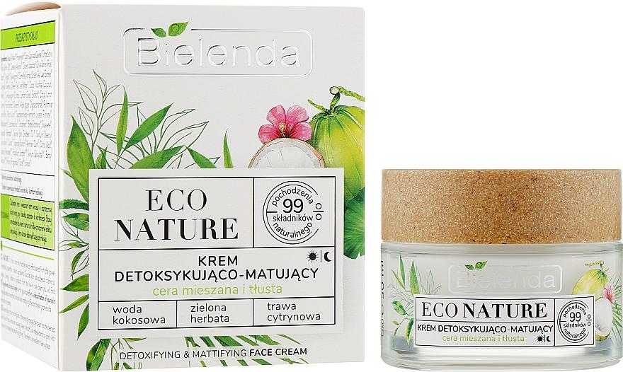 Крем для детоксикации и матирования кожи лица - Bielenda Eco Nature Coconut Water, Green Tea и Lemongrass