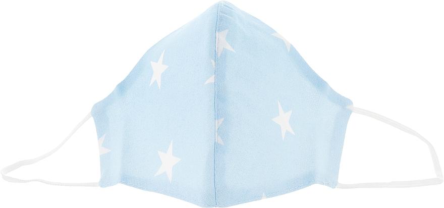 Маска тканевая-защитная для лица, голубая со звездами, размер М - Gioia