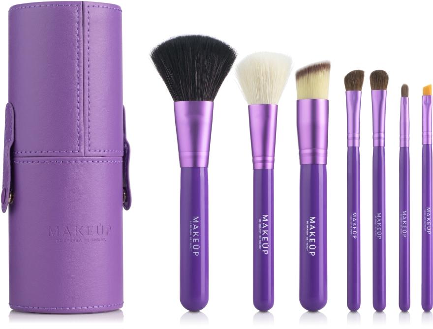 Набор кистей для макияжа в тубусе, фиолетовый, 7шт - Makeup