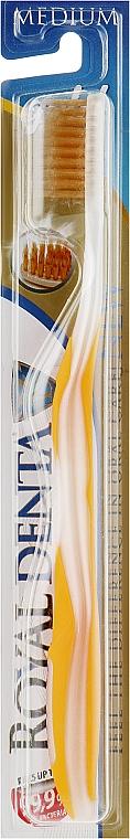 Зубная щетка средней мягкости с наночастицами золота, желтая - Royal Denta Gold Medium Toothbrush
