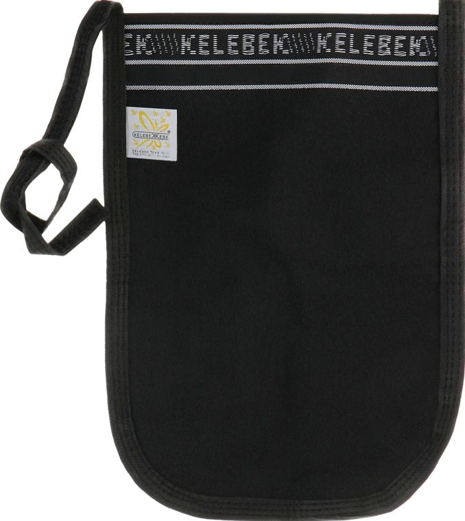 Мочалка пилингующая кесе Kelebek, средняя жесткость, черная с белым - ЧистоТел