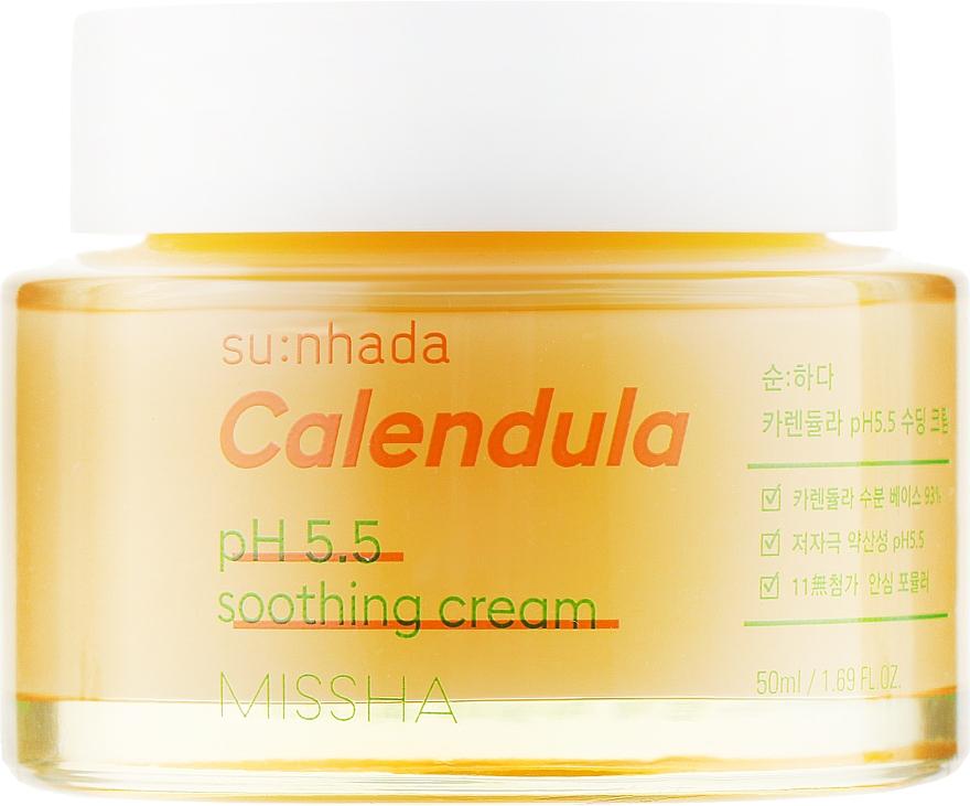 """Успокаивающий крем """"Календула"""" для чувствительной кожи лица - Missha Su:Nhada Calendula pH 5.5 Soothing Cream"""