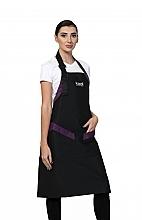 Духи, Парфюмерия, косметика Длинный фартук, черный с фиолетовыми вставками, белый логотип - Kodi Professional