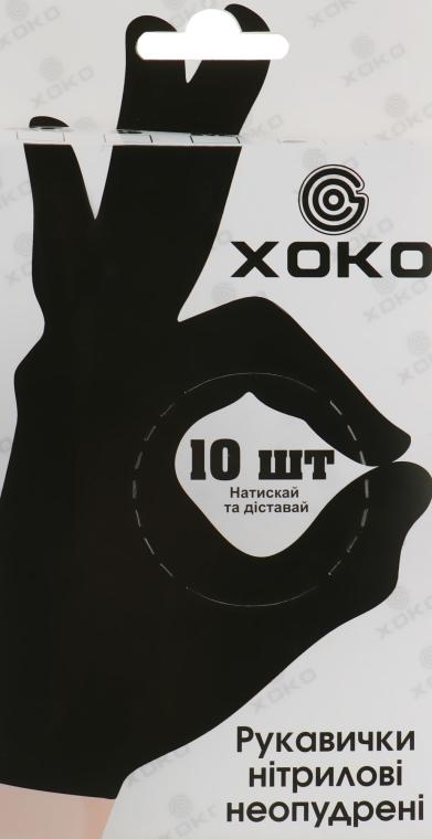 Одноразовые перчатки нитриловые без пудры, размер L, черные - XoKo