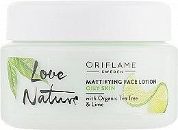 Парфумерія, косметика Матовий бальзам для обличчя з органічним чайним деревом і лаймом - Oriflame Love Nature Mattifyng Face Lotion