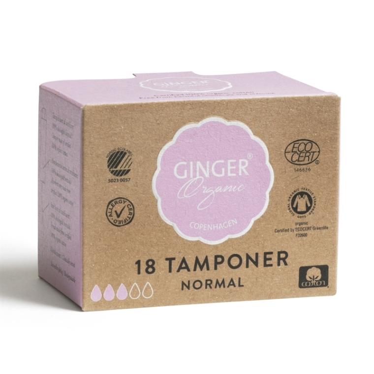 """Тампоны без аппликатора """"Нормал"""", 18 шт - Ginger Organic"""
