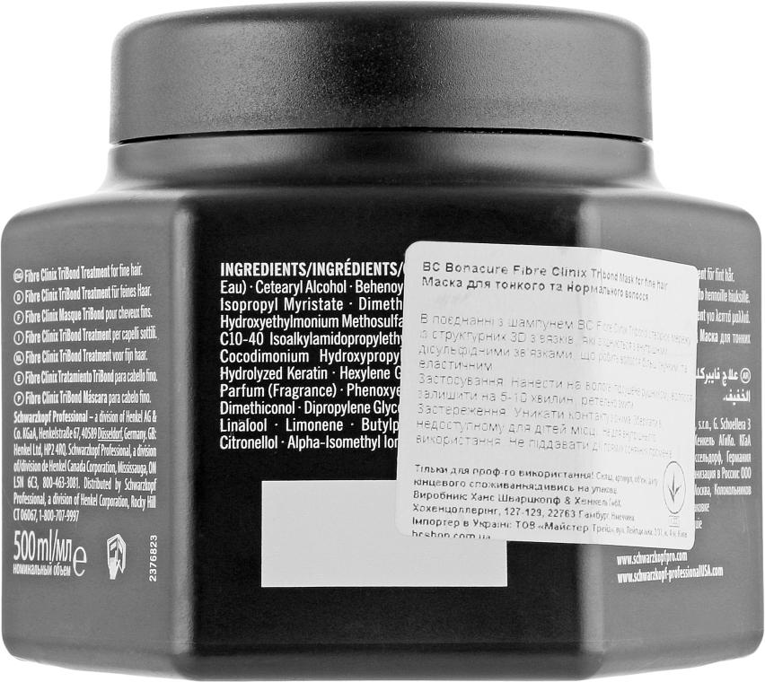 Маска для тонких волос - Schwarzkopf Professional Bonacure Fibre Clinix Tribond Treatment — фото N2