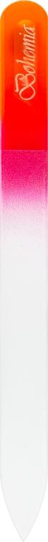 Пилочка для ногтей стеклянная 135мм, малиново-оранжевая - Niegelon Solingen