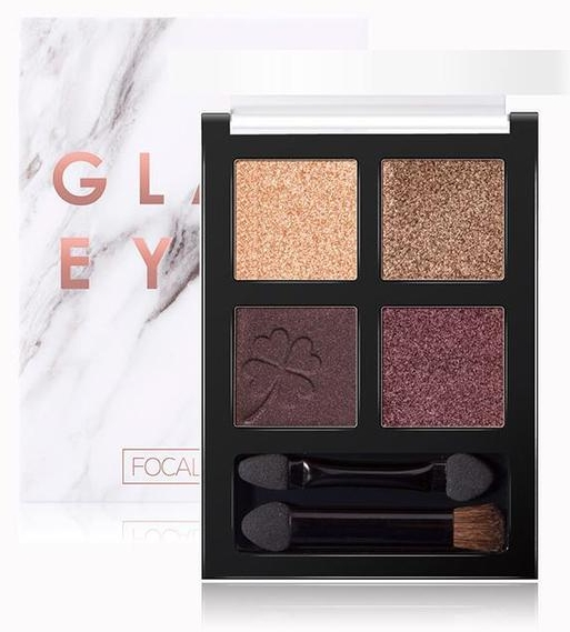 Тени для век - Focallure 4 Pan Eyeshadow Glam Eyes Palette