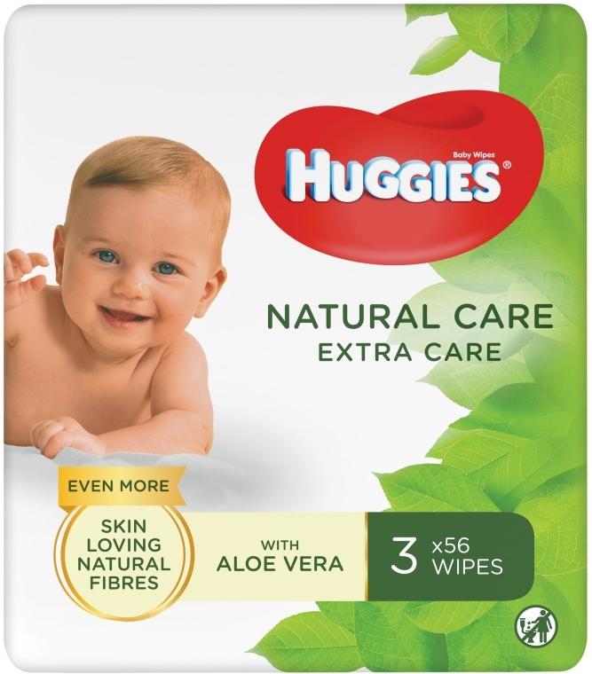 Детские влажные салфетки Natural Care Extra Care 2+1, 3x56 шт - Huggies