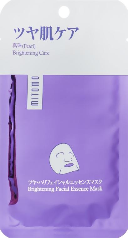 Маска для лица с жемчугом - Mitomo Premium Brightening Faciel Essence Mask