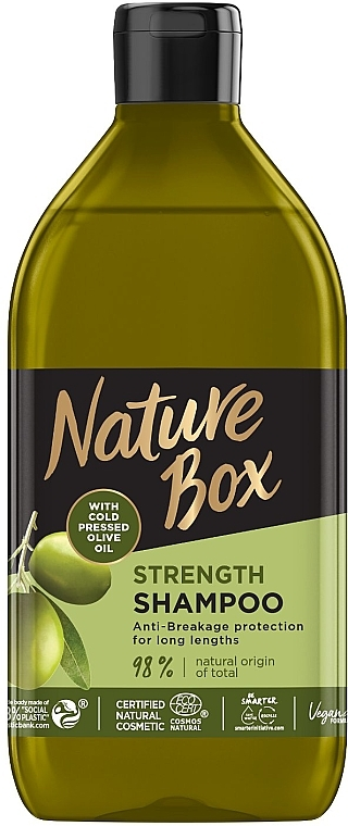 Шампунь для укрепления длинных волос и противодействия ломкости с оливковым маслом холодного отжима - Nature Box Strength Vegan Shampoo With Cold Pressed Olive Oil