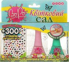 """Духи, Парфюмерия, косметика Набор лаков для 2шт, и 300 стикеров для ногтей """"Цветочный сад"""", розовый, зеленый - BoPo"""