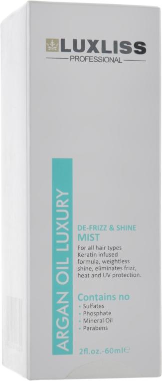 Аргановый спрей для волос - Luxliss De-Frizz & Shine Mist