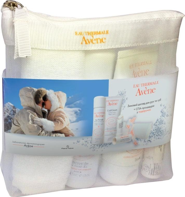 "Набор ""Уход для рук и губ "" - Avene (lip/balm/4g + h/cr/75ml + water/50ml + bag + towel) — фото N1"