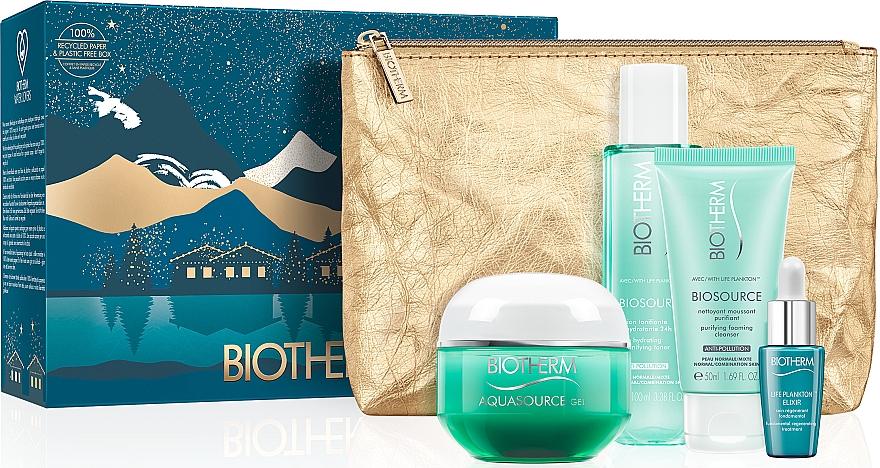 Набор - Biotherm Aquasource (f/gel/50ml + lotion/100ml + foam/50ml + elixir/7ml + bag)