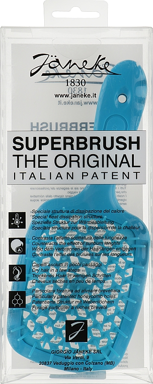 Расческа для волос, голубой кислотный - Janeke Superbrush