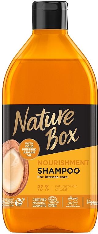 Шампунь для питания и интенсивного ухода за волосами с аргановым маслом холодного отжима - Nature Box Nourishment Vegan Shampoo with cold pressed Argan oil