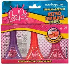 Духи, Парфюмерия, косметика Набор лаков для ногтей 3шт, фиолетовый, красный, малиновый - BoPo