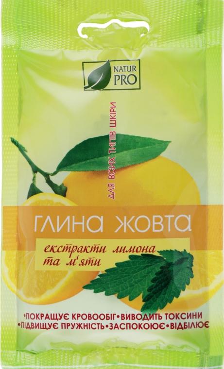 Желтая глина с экстрактом лимона и мяты - NaturPro