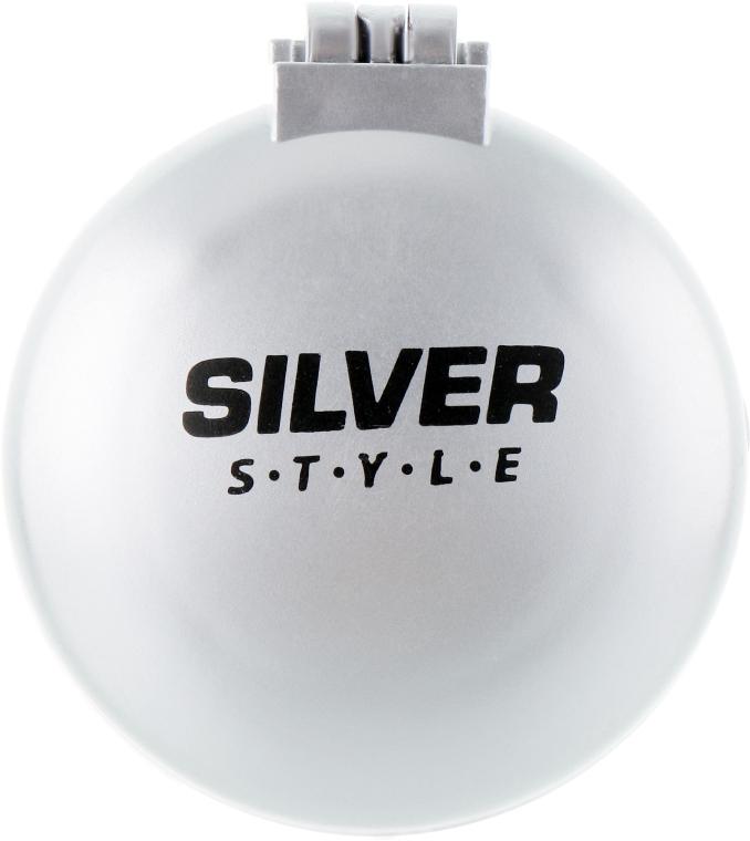 Расческа складная с зеркалом, круглая, РМ-2064, серая - Silver Style