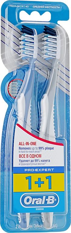 """Набор зубных щеток """"Экстра чистка. Все в одном"""", 40 средней жесткости, синяя + серая - Oral-B Pro Expert CrossAction All in One"""