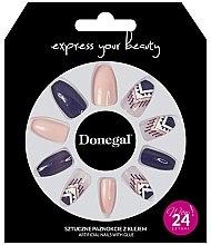 Духи, Парфюмерия, косметика Набор искусственных ногтей, фиолетовый с бежевым - Donegal Express Your Beauty