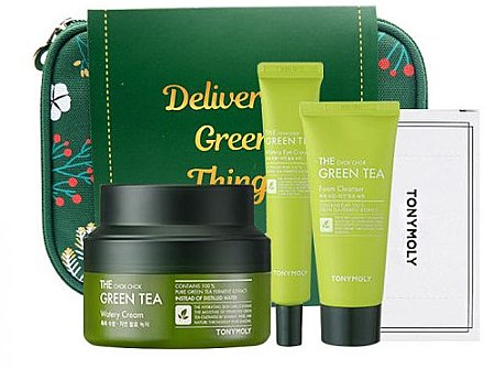 Набор - Tony Moly Green Tea Safe Hydration Kit (foam/50/ml+cream/60/ml+eye/cream/30/ml+pad+bag) — фото N1