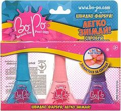 Духи, Парфюмерия, косметика Набор лаков для ногтей 3шт, синий, розовый, фиолетовый - BoPo