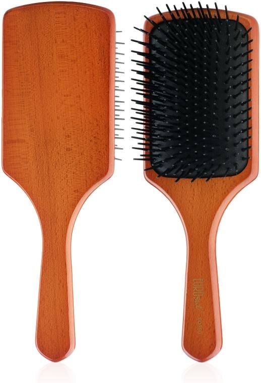Деревянная массажная щетка для волос 00590, квадратная - Eurostil Paddle Brush