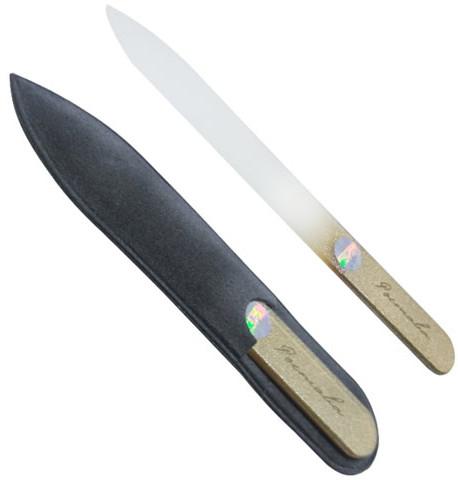 Пилочка для ногтей, хрустальная золотая, 115мм, черный чехол - Ростава