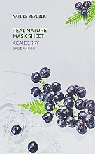 Духи, Парфюмерия, косметика Тканевая маска с экстрактом ягод асаи - Nature Republic Real Nature Acai Berry Mask Sheet
