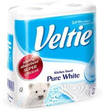 "Духи, Парфюмерия, косметика Полотенце бумажное ""Pure White"", двухслойное - Veltie Paper Towel"