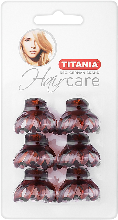 Крабики для волос пластмассовые, маленькие, 6 шт., 3 см, коричневые - Titania