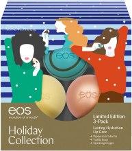 """Духи, Парфюмерия, косметика Набор бальзамов для губ """"Мерцающий имбирь, перечная мята и ваниль"""" - EOS Holiday Lip Balm (3x7g)"""
