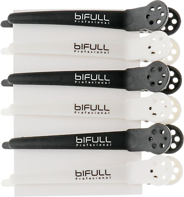 Зажим для волос, черный и белый - Bifull Professional