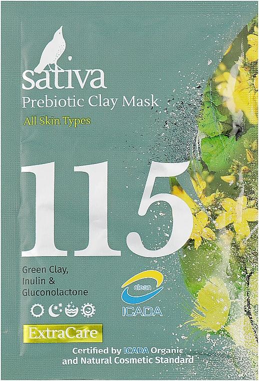 Маска минеральная с пребиотиком №115 - Sativa Extra Care Prebiotic Clay Mask