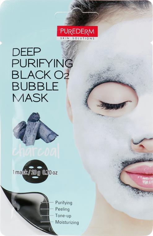 Глубоко очищающая кислородная маска для лица с древесным углем - Purederm Deep Purifying Black O2 Bubble Charcoal