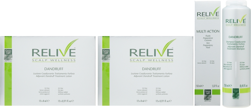 Набор - Green Light Relive Scalp Wellness Dandruff (sh/250ml + fluid/150ml + lotion/12x8ml + lotion/12x8ml)