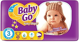 Духи, Парфюмерия, косметика Подгузники детские 3 размер, midi (4-10 кг), 40 шт - Baby Go