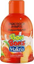 Духи, Парфюмерия, косметика Шампунь-гель для душа Latte & Pesca - Malizia Bon Bons Shampoo & Body Wash