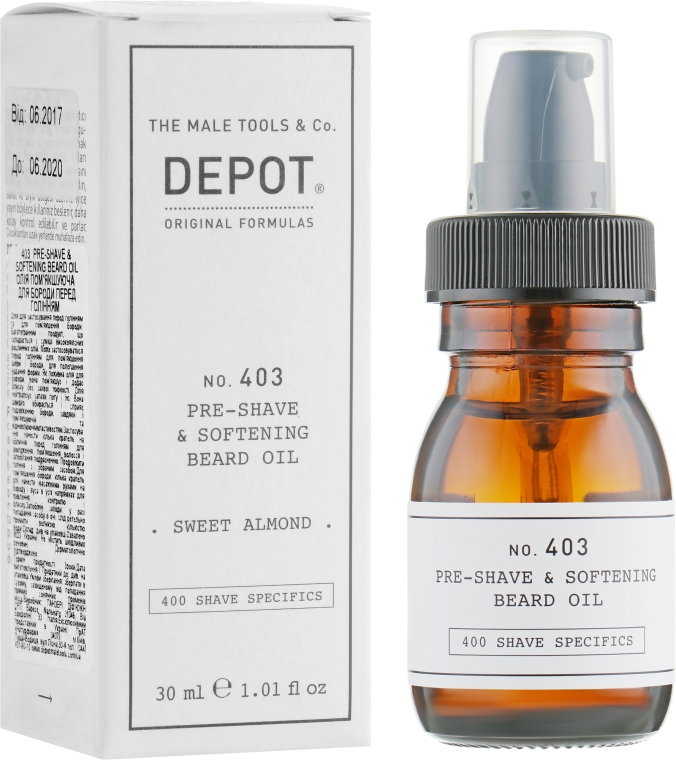 Масло для смягчения бороды - Depot Shave Specifics 403 Pre-Shave & Softening Beard Oil