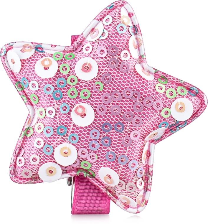 "Заколка для волос ""Звезда"", d-108 - розовая Dini Hand Made"