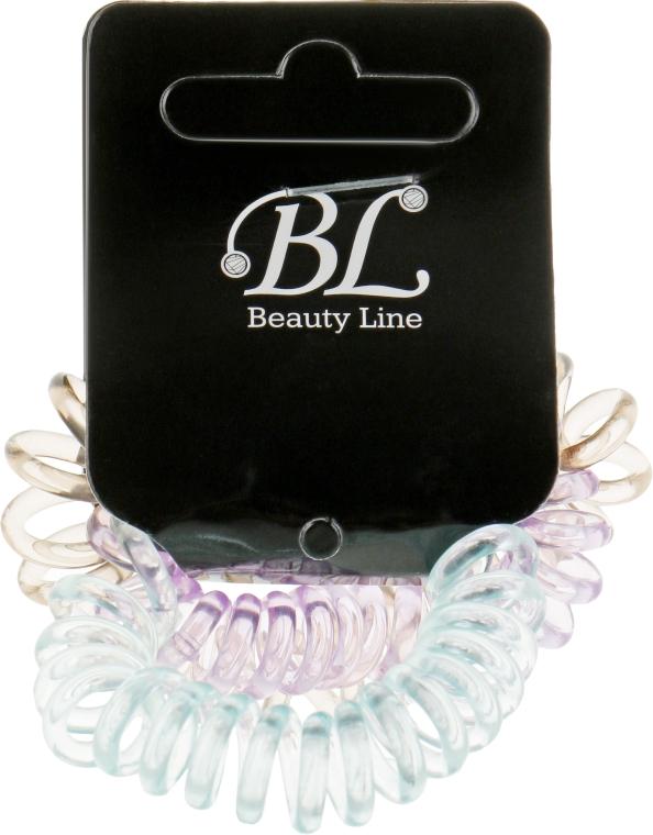 Набор резинок для волос, 405004, прозрачно-голубая+прозрачно-бежевая+прозрачно-фиолетовая - Beauty Line