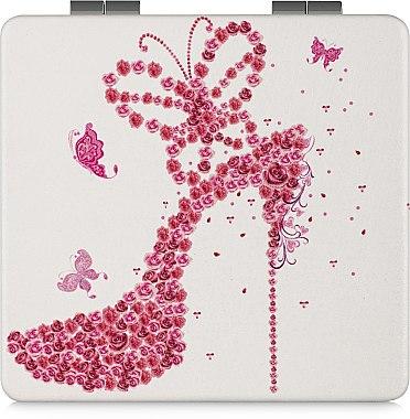 Зеркало косметическое квадратное, белое с туфелькой - Lily Cosmetics