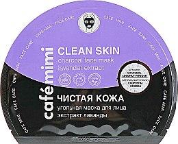 "Духи, Парфюмерия, косметика Угольная тканевая маска для лица ""Чистая кожа"" - Cafe Mimi Clean Skin Charcoal Face Mask Lavender Extract"